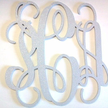 24 inch GLITTERED Gray Wooden Monogram Wall Letters, Nursery Decoration, Home Decoration