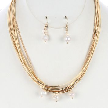 Cream Multi Strand Pearl Charm Bib Necklace And Earring Set