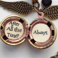 Harry Potter Font Golden Snitch Always Necklace Steampunk