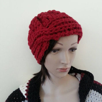 CHUNKY HAT, burgundy turban beanie, Crochet beanie,Offwhite Chunky, popcorn slouchy beanie,  Fall Autumn winter fashion