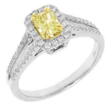 0.87ct 14k Two-tone Gold Cushion Cut Natural Fancy Yellow Diamond Ring