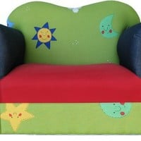 Fantasy Furniture Comfy Kid's Chair, Green Stars