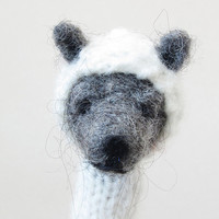 Finger Puppet Soft Toy- Grey Bear, needlefelted from wool and knitted with yarn