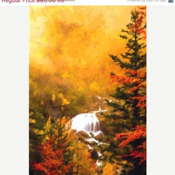 Impressionist, Oil Painting, Abstract, Art Print, Digital, Home Decor, Modern, Poster, Autumn Forest, Waterfall, Nature, ON SALE,