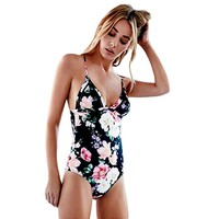 Sexy Black Floral Swim Wear Monokini Padded Bathing Suit One Piece Swimsuit