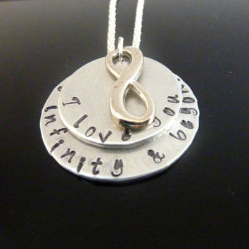 Hand stamped infinity necklace I love you to infinity and beyond Personalized jewelry