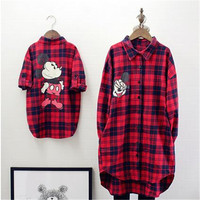 Red Lattice Cardigan Shirt Mother And Daughter