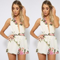 Women's Fashion Summer Print Pearls Chiffon Wrap Backless Jumpsuit One Piece Dress [7767311175]