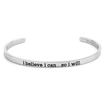 Fight Like a Girl Motivational Skinny Cuff Bracelet Stainless Steel Choice of 3 Inspiring Phrases