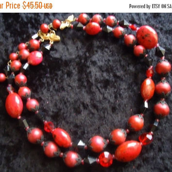 Now On Sale Vintage Deauville Necklace Red Lucite & Glass 2 Strand Beaded 1950s 1960s Rockabilly High End Mid Century Costume Jewelry