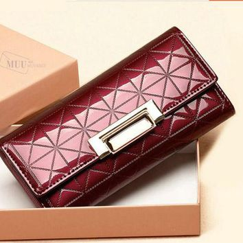 New Fashion Women faux leather Clutch Wallet Long Card Holder Purse