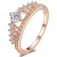 Engagement Party Ring 2017 New Fashion Crystal Rhinestone Crown Rings For Women Cute Elegant Luxury Sliver Plated Party