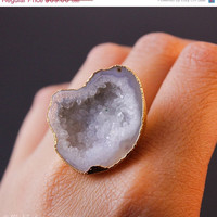 SALE Gold Druzy Crystal Quartz Rings - Organic Shape - Gifts for Her, Choose Your Druzy