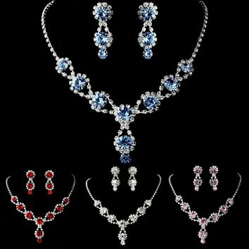 Women's Handmade Rhinestone Clear Crystal Tear Drop Earrings Elegant Necklace Bridal Wedding Jewelry Set