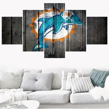 Animal Rugby Football Miami Dolphins Paintings Wall Home Decor Picture Canvas Painting Calligraphy For Living Room Bedroom