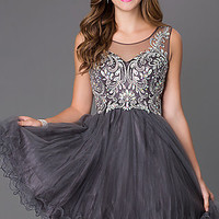 Short Homecoming Dress with Illusion Back