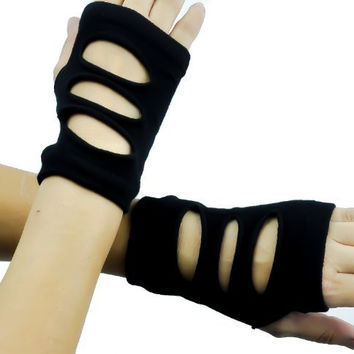 Black Cut Out Torn Fingerless Gloves