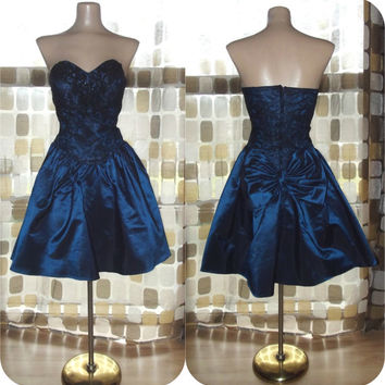 Vintage 80s Iridescent Midnight Blue Taffeta Full Mini Party Dress Sweetheart Bustier Big Bow Alfred Angelo S/M