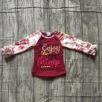 baby girls Fall/ Autumn raglans girls enjoy the little things print top raglans girls wine red tee with floral long sleeve top