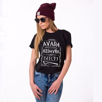 Avada Kedavra Bitch Harry Style T-Shirt  Women Graphic Tee Fashion Summer Girl Short Sleeve 100% Cotton Tops Clothes for Women