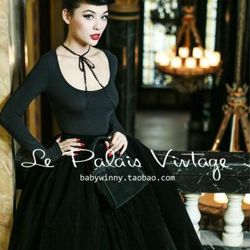 Le Palais Vintage limited sexy low cut lace sleeve conjoined tight jumpsuit
