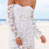 White Cut Out Back Off Shoulder Crochet Lace Mini Dress