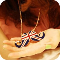 1PCS Vintage London Union Jack mustache Cute long chain necklace free shipping