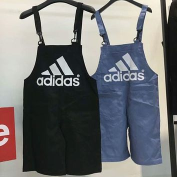 ADIDAS Embroidered Loose Classic Big Logo Denim Jumper Shorts Overalls F-AG-CLWM