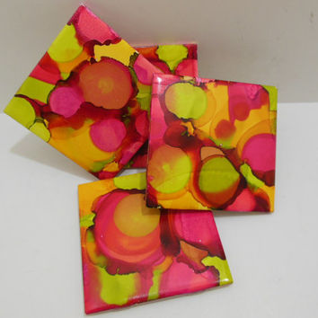 Painted Ceramic Tile - Drink Tile Coasters - Fun Coasters