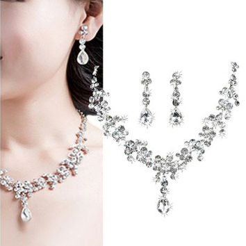 Silver Crystal Drop Wedding Necklace Earrings Jewelry Set Bridal Bridesmaid Gift [7981371399]