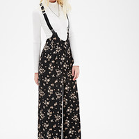 Clustered Rose-Print Overalls