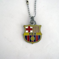 FC Barcelona European Spanish Soccer Neck Necklace W/ LARGE Pendant