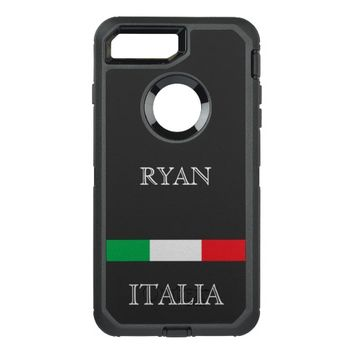 Flag of Italy add name OtterBox Defender iPhone 7 Plus Case
