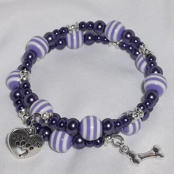 Pet Best Friend Dog Paw Bone Purple Stripe and Pearl Acrylic Hand Crafted Wrap Charm Bracelet