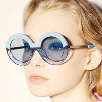 2017 New Brand Women Round Sunglasses Hollywood Pool Sea Blue Female Fashion Oversize Arrow Mirror Glasses Oculos UV400