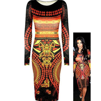 Aztec Print Long Sleeve Bodycon Midi Dress