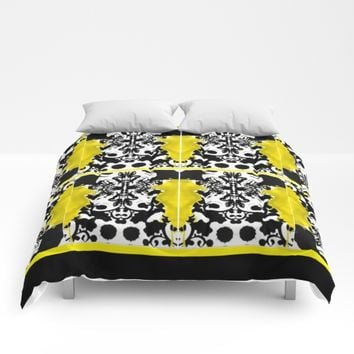 black whitr abstact Comforters by violajohnsonriley