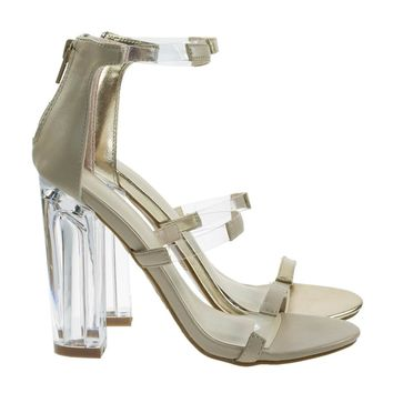 Hyphen07s Nude By Bamboo, Lucite Sandal w Perspex High Block Heel Transparent Strap