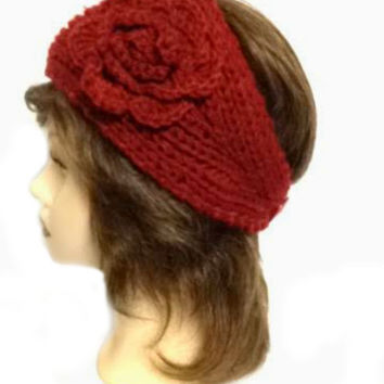 Women's Burgundy Large Crochet Flower Adjustable 2 Button Stretch Headband Ear Warmer Crochet Headband