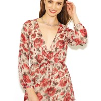 West Coast Wardrobe Fresh Air Floral Long Sleeve Romper in Red Floral