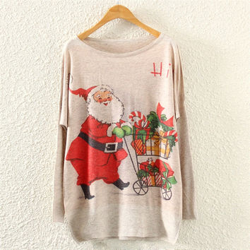 New-arriving Santa Claus Walking the Red Nose Reindeer Pattern Ugly Christmas Sweaters