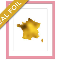 France Map - Gold Foil Print - France Map Art Print - Foil Map - Geography Travel Poster - France Wall Art - French Map Wall Decor - Paris
