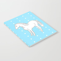 White Horse with Light Blue & Polka Dots Notebook by Artist Abigail