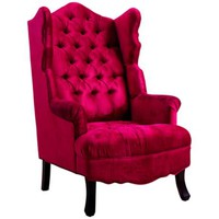Madison Hand-Crafted Scalloped Pink Velvet Wing Chair - #8N185 | LampsPlus.com