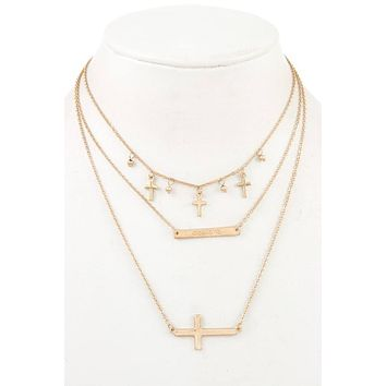 Ladies fashion multi cross dangle layered necklace