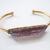 Raw Gemstone Cuff Bracelet- Amethyst Crystal Quartz- Pyrite Inlaid - Raw Crystal -Mineral Jewelry
