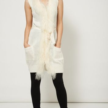 Sleeveless Knitted Fur Cardigan With Pockets