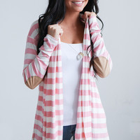 Striped Elbow Patch Cardigans - Pink/White