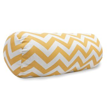 Yellow Chevron Round Bolster