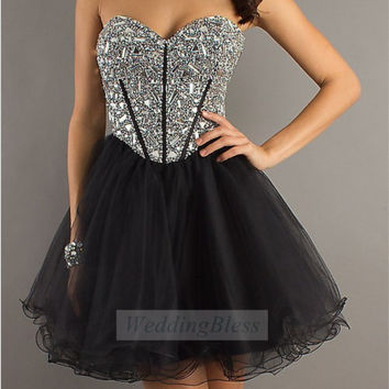 Corset Dress Lace Up Back Prom Dress Black Homecoming Dress